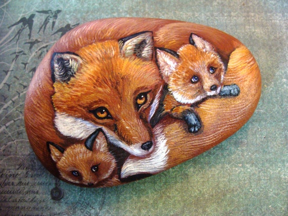 ROCKS-Original Hand Painted Rocks,  Fox Family of Three,  by Shelli Bowler