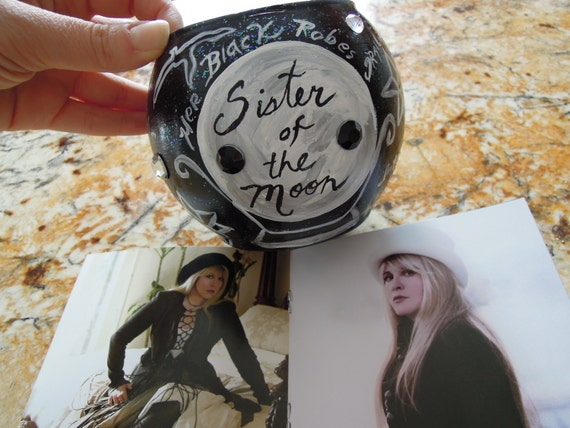 SISTER of the MOON, Handpainted Candle Votive, Stevie Nicks , Magic,  Wiccan,gYPSY, Bohemain Goddess