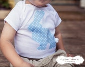Boys Pale Blue Polka Dot Easter Bunny Shirt with Cottontail