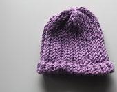 Organic Cotton Baby Hat - Handmade - Lilac - Newborn
