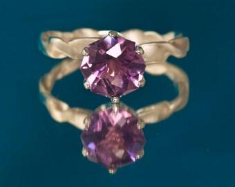 Amethyst Custom Cut Unique Engagement Ring & February Birthstone