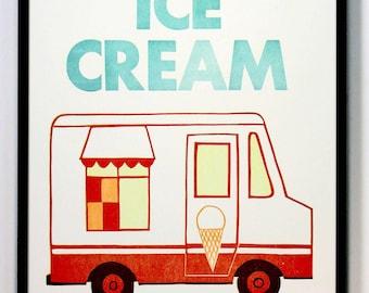 Enjoy, Ice Cream, Letterpress printed Linocut poster