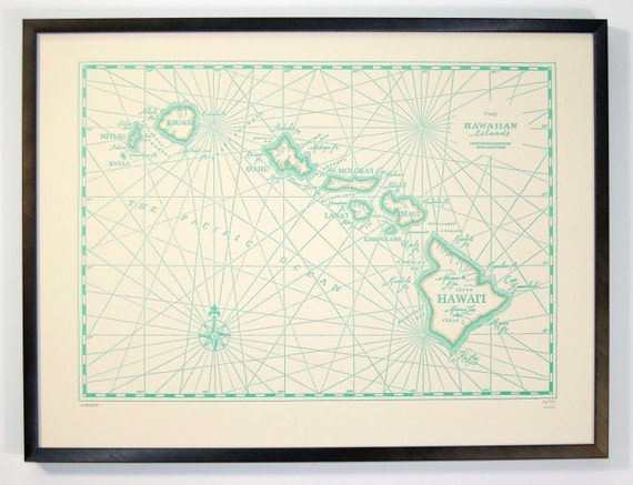 Hawaiian Islands, Letterpress printed Map (Pale Turquoise)