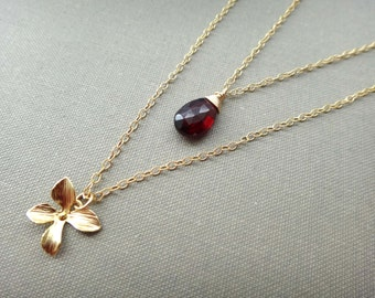Red and gold double strand necklace, red gemstone double layer necklace, red garnet layered necklace, Mozambique garnet necklace, handmade