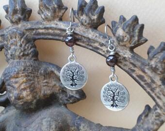 Garnet Tree of Life Earrings Yoga Jewelry Pagan Jewelry Tree Charm Bohemian Earrings  Boho Jewelry Tree of Life Jewelry January Birthstone