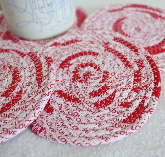 Fabric Coiled Coasters / Red Hot Love / set of 4 / by PrairieThreads