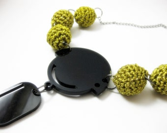 Folk embroidered necklace - contemporary jewellery -  acrylic jewelry