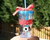 Soccer Mom gift 16 oz Insulated cup with polka dots