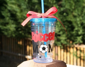 Soccer Mom gift 16 oz Insulated clear tumbler with polka dots and soccer balls - available in all clear tumbler only