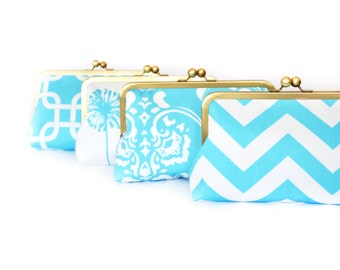 Set of 4 Bridesmaids Clutches Turquoise Bridesmaids Custom Wedding Purses Bags by Lolis Creations - Personalized Bridesmaids Gift Set
