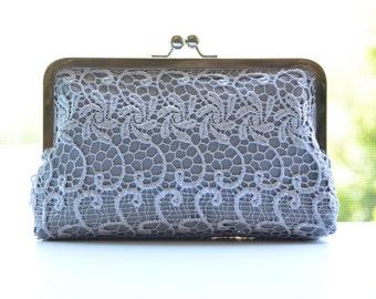 Lace - Silver on Grey - Bridal Bridesmaid Wedding Clutch Bag Purse Gift Ideas Handmade by Lolis Creations