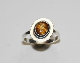 Tigers Eye Ring - Asymetric Jewelry - Size 9.5 - Sterling Silver - Natural Stone Ring - Brown Ring