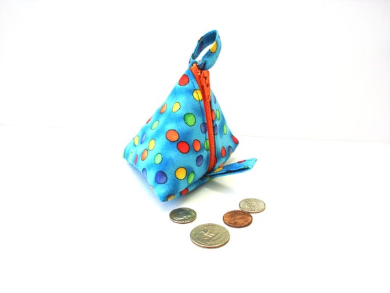 Coin purse change pouch pyramid zipper blue polka dots, kids students back to school