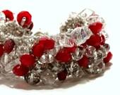 S A L E, DEEP  VELVET RUBY Red, Crystal Bracelet, Hand Knit Soft Cuff,  Last One by Sereba  Designs on Etsy