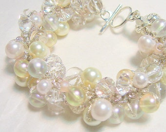 Sweet Pale Pink Bridal, Bridesmaid, Pearl  Crystal Bangle Bracelet LIMITED EDITION, Hand Knit Art, Original  Sereba Designs