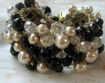 Black, Champagne, Pearl Crystal  Wedding Jewelry Bracelet Cuff, Black Tie CLASSIC ELEGANCE, Ready to Ship,  Hand Knit, Sereba  Designs