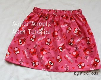Skirt TUTORIAL Super Simple Skirt PDF Pattern for Girls and Toddlers sizes 18-24months to girls 8. Instant Download. Boutique Style.