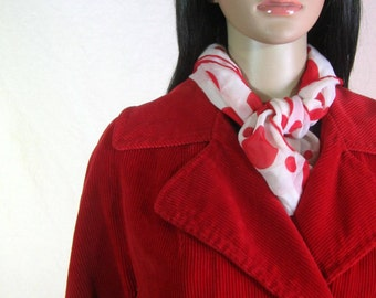 50's RED CORDUROY COAT by Betty Rose of Kansas City Size M