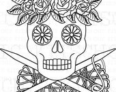 Color Your Own Sugar Skull Dead People Knit Digital Picture