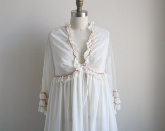 Sheer White Peignoir Set with Rosettes Lace and Ruffles - Maxi Length Nightgown and Robe - Vintage Lingerie