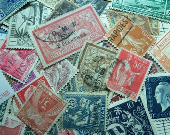 25  French Postage Stamps,Used Postage Stamps, Vintage French Stamps, French,  France, Stamps, Postage Stamps, Pre 1950