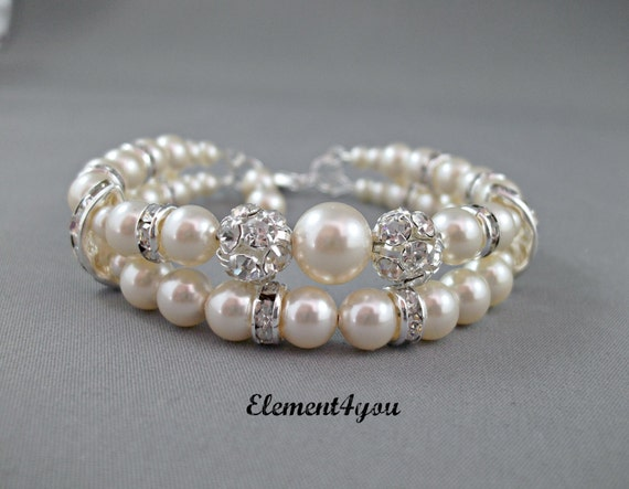 Bridal cuff bracelet Swarovski white or ivory pearls Two stranded Bridal jewellery Wedding Maid of honor gift Rhinestone ball Silver jewelry
