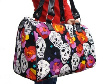 Handbag Doctor bag Satchel Style Estrella De Los Muetros  skulls Gothic Holloween Latino Cultural Pattern US handmade Cotton F