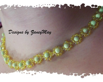 Daisy Necklace Pattern, Beading Tutorial in PDF