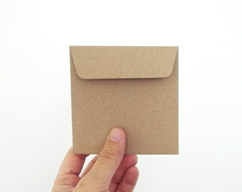 set of 50 recycle kraft paper gift bag square 9.5cmX9.5cm great for card or organizer your stationary