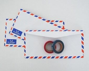 Set of 12 vintage style french airmail par avion flat envelope 22.75 cm X 10.5 cm 70Gsm