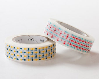 Discontinued - MT 2013 - Single Japanese Washi Masking Tape / Yellow or Red Marble Dots