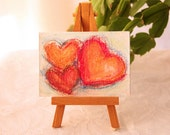 Small Art Painting Hearts Red Pink Warm Red Orange