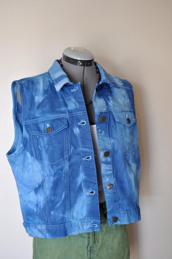 Blue Large Denim VEST -  Light to Royal Blue Over Dyed Upcycled Jones Jeans Cropped Denim Jacket Vest - Adult Women's Large (40 chest)