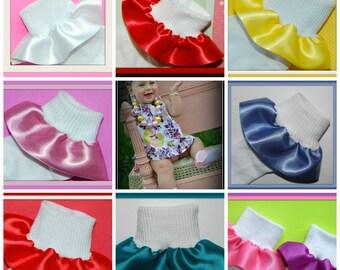 SALE-Elegant Satin Ruffle Socks in CHOICE Of 35 Colors...Wedding,Flower Girl,Baptisms, Church-SALE...