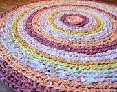 crochet rag rug - round recycled pink, orange, yellow stripes 39 inches