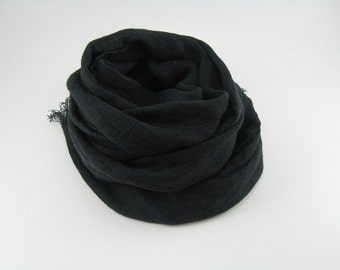 Handmade Linen Scarf --- Black