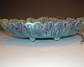 Large Oblong Bowl, Ceramics and Pottery Bowl, Blue and Green, Ceramic Serving Bowl