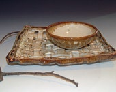 Woven Pottery Tray, Serving Tray, Ceramics and Pottery, Woven Pottery Basket, Wedding Gift