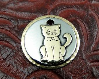 Custom Kitty Cat ID Tag-Pet ID Tag-Pet Collar ID Tag-Handmade Kitty Cat Tag-Small Cat Collar Tag