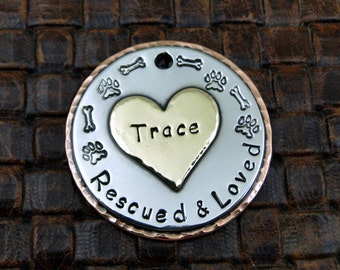 Dog ID Tag Rescued and Loved with Large Heart,Custom Dog ID Tag,Personalized ID Tag,Dog Collar Tag
