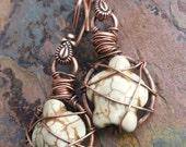 Endangered, Magnesite Turquoise turtles and Copper Earrings, ThePurpleLilyDesigns