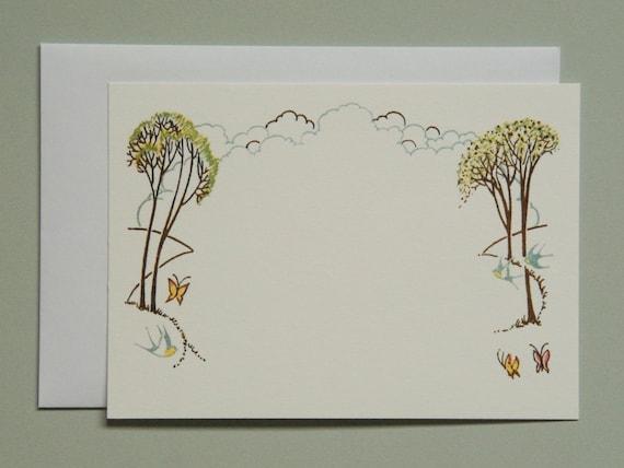 spring notecard, trees, retro bureau