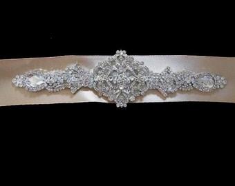 Bridal wedding dress gown crystal beaded sash embellished belt