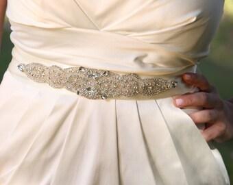 Wedding dress gown crystal sash embellished crystal beaded belt