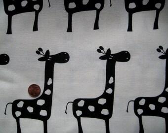 Giraffe Fabric Black White