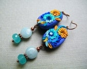Indian Indigo. Polymer Clay Dangling Earrings