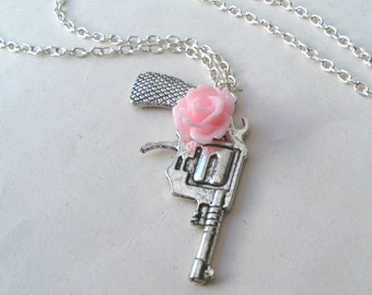 Guns and Roses Silver Gun Necklace with Rose Flower, Rose Necklace, Choose Your Colour