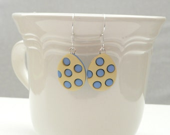 Yellow and Blue Easter Egg Dangle Earrings
