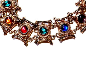Vintage 1950's Panel Bracelet, Roman Mediterranean Style, Gold Tone Panel Bracelet, Red Blue Purple, Chain and Link Bracelet, VisionsOfOlde