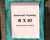 8X10 Picture Frame Distressed Turquoise Black Shabby Chic Wedding Photo Frame